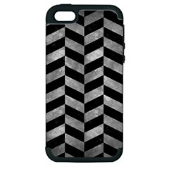 Chevron1 Black Marble & Gray Metal 2 Apple Iphone 5 Hardshell Case (pc+silicone)