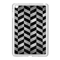 Chevron1 Black Marble & Gray Metal 2 Apple Ipad Mini Case (white)