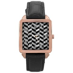 Chevron1 Black Marble & Gray Metal 2 Rose Gold Leather Watch