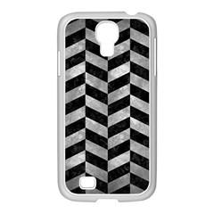 Chevron1 Black Marble & Gray Metal 2 Samsung Galaxy S4 I9500/ I9505 Case (white)