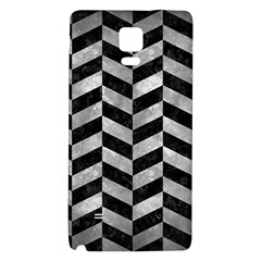 Chevron1 Black Marble & Gray Metal 2 Galaxy Note 4 Back Case