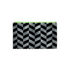 Chevron1 Black Marble & Gray Metal 2 Cosmetic Bag (xs)