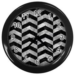 Chevron2 Black Marble & Gray Metal 2 Wall Clocks (black)