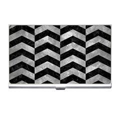 Chevron2 Black Marble & Gray Metal 2 Business Card Holders