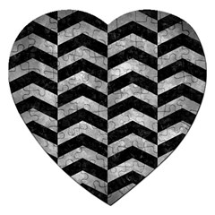 Chevron2 Black Marble & Gray Metal 2 Jigsaw Puzzle (heart)