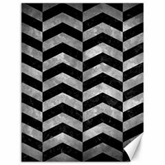 Chevron2 Black Marble & Gray Metal 2 Canvas 12  X 16