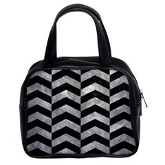 Chevron2 Black Marble & Gray Metal 2 Classic Handbags (2 Sides)