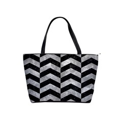 Chevron2 Black Marble & Gray Metal 2 Shoulder Handbags