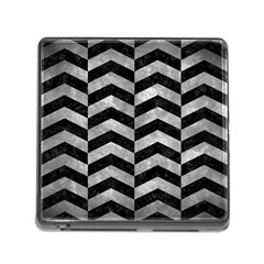 Chevron2 Black Marble & Gray Metal 2 Memory Card Reader (square)