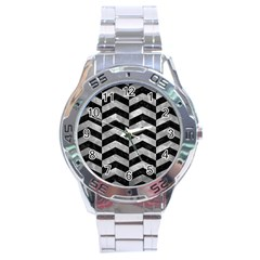 Chevron2 Black Marble & Gray Metal 2 Stainless Steel Analogue Watch