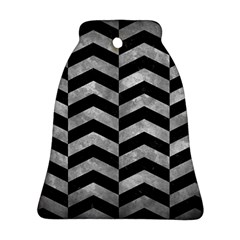 Chevron2 Black Marble & Gray Metal 2 Ornament (bell)