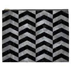 Chevron2 Black Marble & Gray Metal 2 Cosmetic Bag (xxxl)
