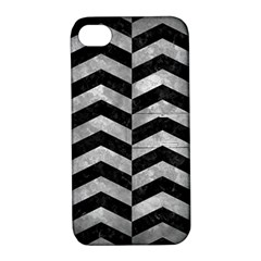 Chevron2 Black Marble & Gray Metal 2 Apple Iphone 4/4s Hardshell Case With Stand