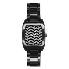Chevron2 Black Marble & Gray Metal 2 Stainless Steel Barrel Watch