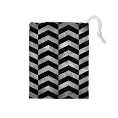 Chevron2 Black Marble & Gray Metal 2 Drawstring Pouches (medium)
