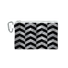 Chevron2 Black Marble & Gray Metal 2 Canvas Cosmetic Bag (s)