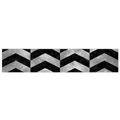 Chevron2 Black Marble & Gray Metal 2 Flano Scarf (small)