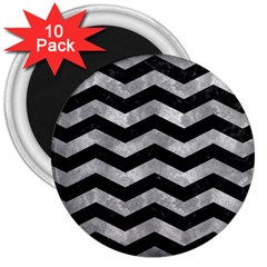 Chevron3 Black Marble & Gray Metal 2 3  Magnets (10 Pack)