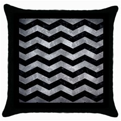 Chevron3 Black Marble & Gray Metal 2 Throw Pillow Case (black)