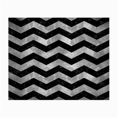 Chevron3 Black Marble & Gray Metal 2 Small Glasses Cloth