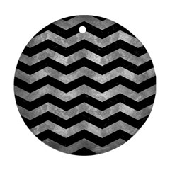 Chevron3 Black Marble & Gray Metal 2 Round Ornament (two Sides)