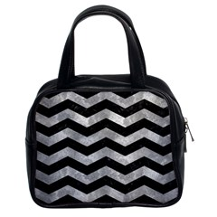 Chevron3 Black Marble & Gray Metal 2 Classic Handbags (2 Sides)