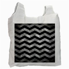 Chevron3 Black Marble & Gray Metal 2 Recycle Bag (one Side)