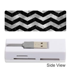 Chevron3 Black Marble & Gray Metal 2 Memory Card Reader (stick)