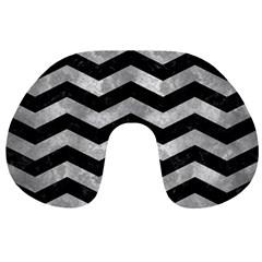 Chevron3 Black Marble & Gray Metal 2 Travel Neck Pillows