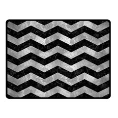 Chevron3 Black Marble & Gray Metal 2 Double Sided Fleece Blanket (small)