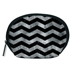 Chevron3 Black Marble & Gray Metal 2 Accessory Pouches (medium)