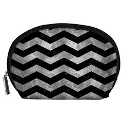Chevron3 Black Marble & Gray Metal 2 Accessory Pouches (large)
