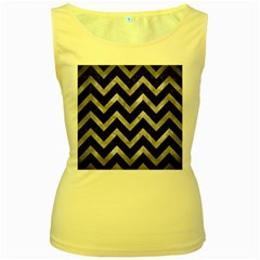 Chevron9 Black Marble & Gray Metal 2 Women s Yellow Tank Top