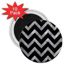 Chevron9 Black Marble & Gray Metal 2 2 25  Magnets (10 Pack)