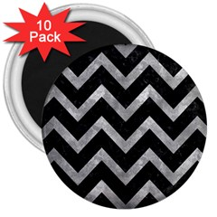 Chevron9 Black Marble & Gray Metal 2 3  Magnets (10 Pack)