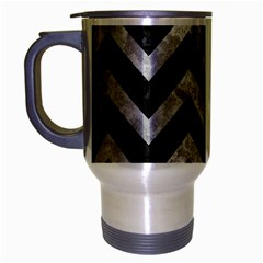 Chevron9 Black Marble & Gray Metal 2 Travel Mug (silver Gray)