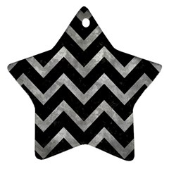 Chevron9 Black Marble & Gray Metal 2 Star Ornament (two Sides)