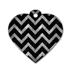 Chevron9 Black Marble & Gray Metal 2 Dog Tag Heart (two Sides)