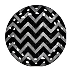 Chevron9 Black Marble & Gray Metal 2 Round Filigree Ornament (two Sides)