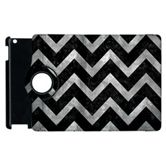 Chevron9 Black Marble & Gray Metal 2 Apple Ipad 2 Flip 360 Case