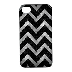 Chevron9 Black Marble & Gray Metal 2 Apple Iphone 4/4s Hardshell Case With Stand