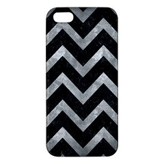 Chevron9 Black Marble & Gray Metal 2 Apple Iphone 5 Premium Hardshell Case