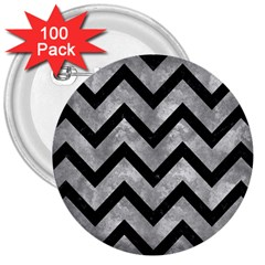 Chevron9 Black Marble & Gray Metal 2 (r) 3  Buttons (100 Pack)