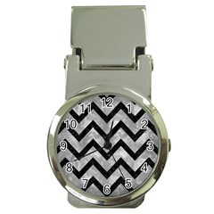 Chevron9 Black Marble & Gray Metal 2 (r) Money Clip Watches