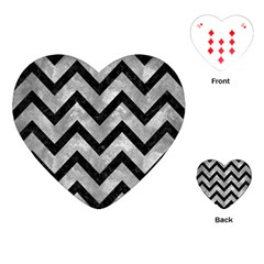Chevron9 Black Marble & Gray Metal 2 (r) Playing Cards (heart)