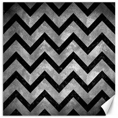 Chevron9 Black Marble & Gray Metal 2 (r) Canvas 12  X 12