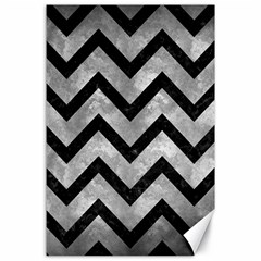 Chevron9 Black Marble & Gray Metal 2 (r) Canvas 24  X 36