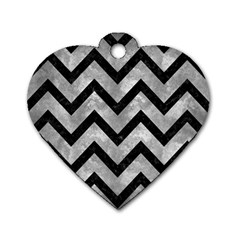 Chevron9 Black Marble & Gray Metal 2 (r) Dog Tag Heart (one Side)
