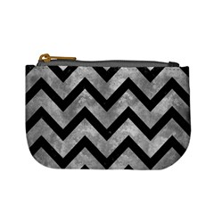 Chevron9 Black Marble & Gray Metal 2 (r) Mini Coin Purses
