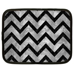Chevron9 Black Marble & Gray Metal 2 (r) Netbook Case (xxl)